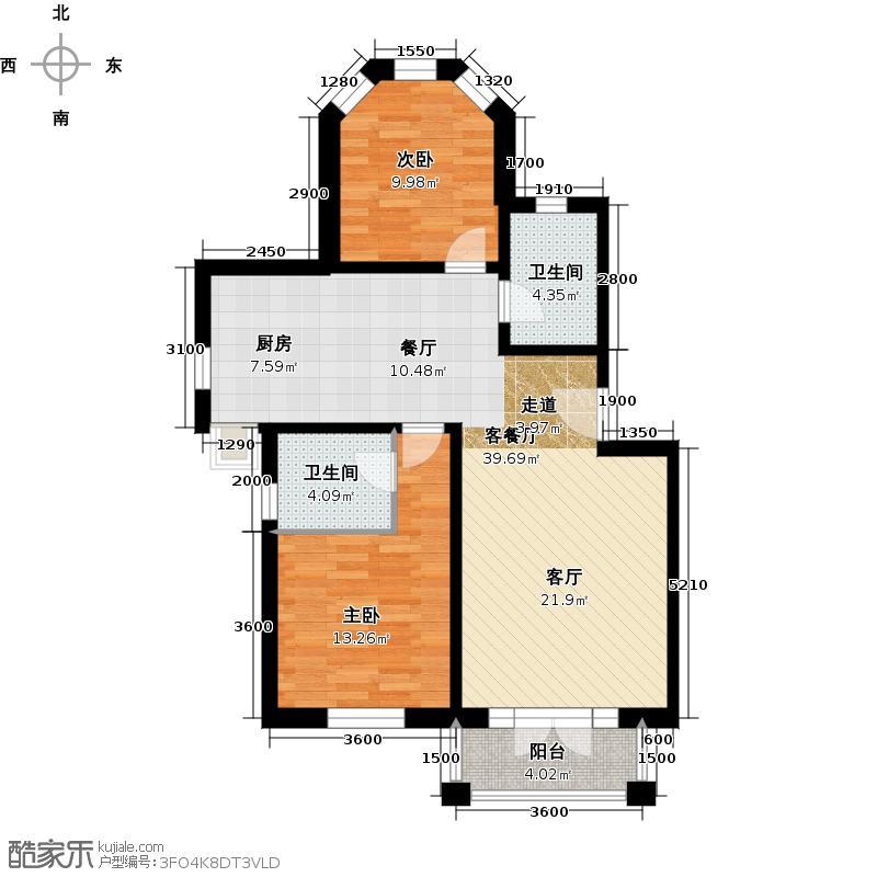 绿城・百合公寓103.00㎡户型2室2厅2卫