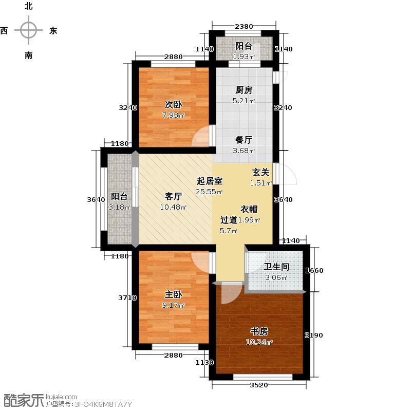 三力悦活里70.81㎡项目一期三居户型3室2厅1卫