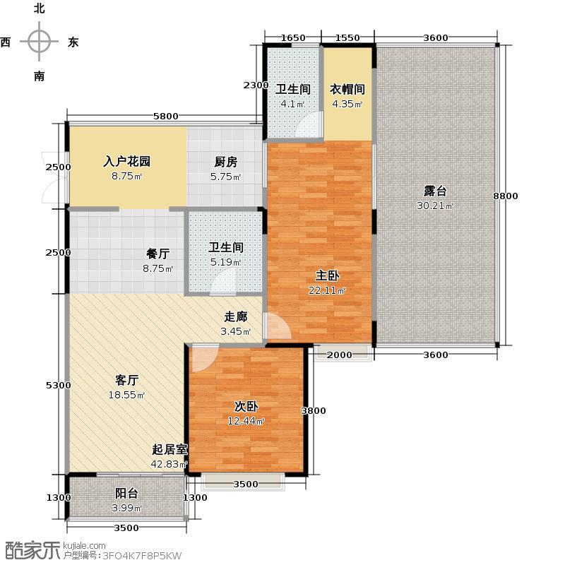 雅居乐云南原乡95.00㎡A12户型2室2厅2卫