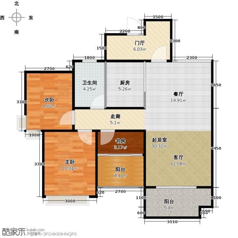 绿地国际花都88.00㎡三期H2型变面积88赠送13平米户型10室