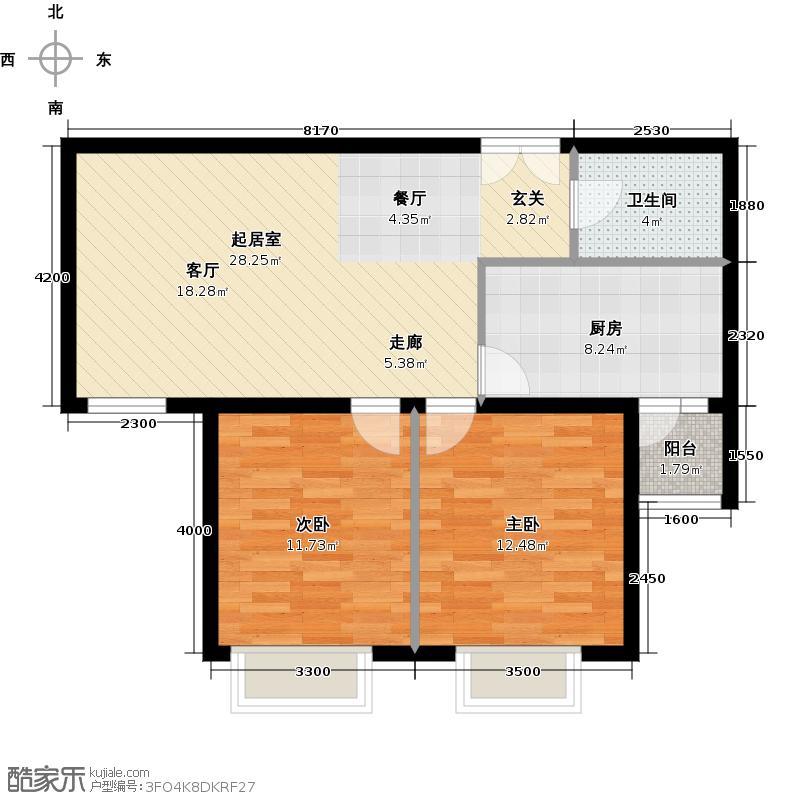世纪星城・全朝阳99.64㎡三期22号楼B段23号楼A段(C)户型2室2厅1卫