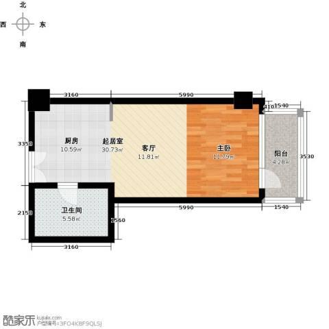 建邦・礼仕阁1室0厅1卫0厨58.00㎡户型图