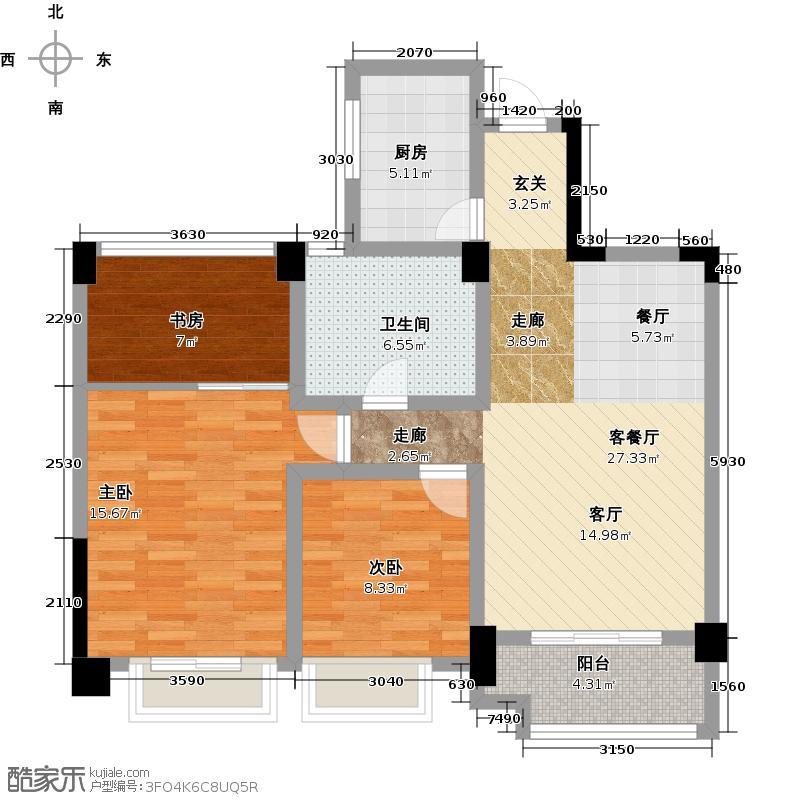 金昌春和钱塘87.00㎡B装修图户型3室2厅1卫