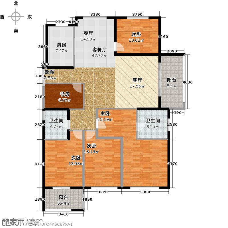 顺发康庄159.00㎡E户型5室2厅2卫