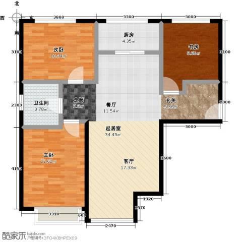 金第万科・朗润园3室2厅1卫0厨105.00㎡户型图