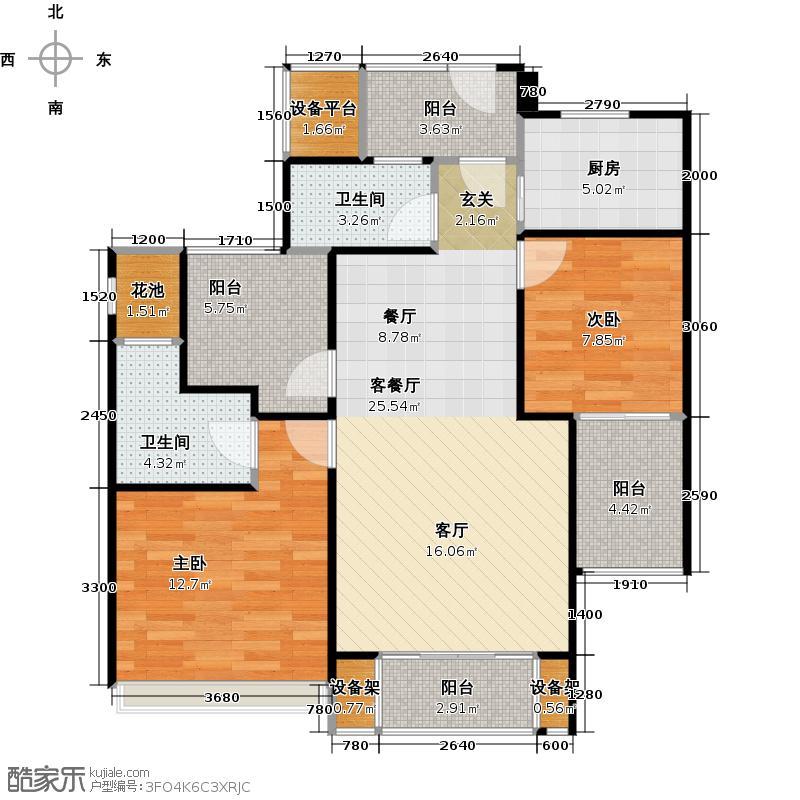 半岛国际86.00㎡B1户型2室2厅2卫