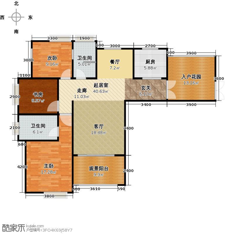 武夷滨江135.00㎡B户型3室2厅2卫