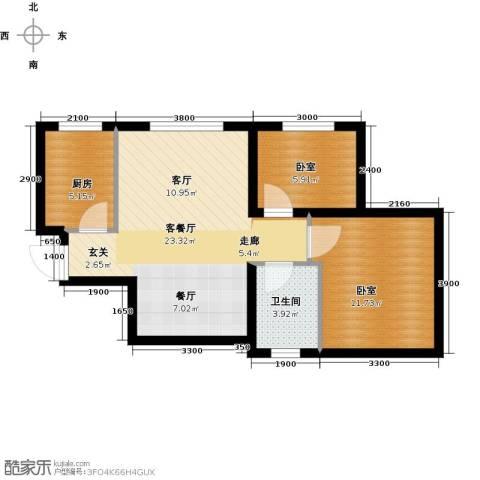 美震瑞景时代2室2厅1卫0厨72.00㎡户型图