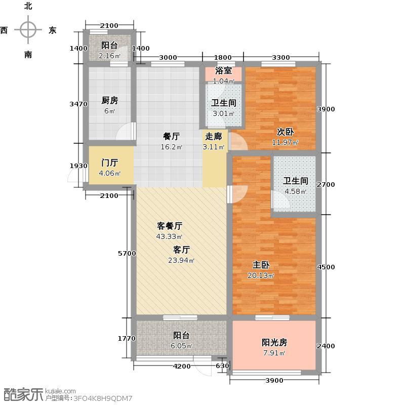 琴湖湾(东方太阳城Ⅲ)139.00㎡B34首层户型10室