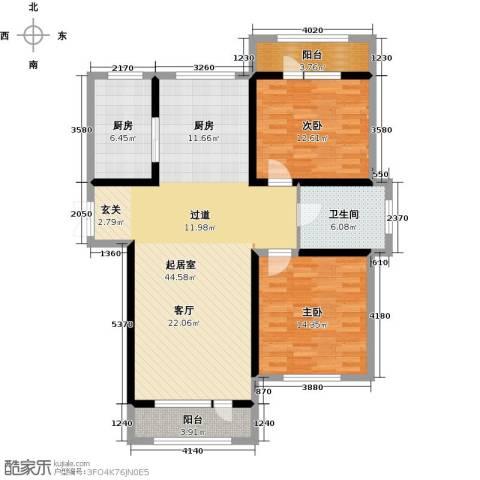 地恒托斯卡纳2室2厅1卫0厨91.74㎡户型图