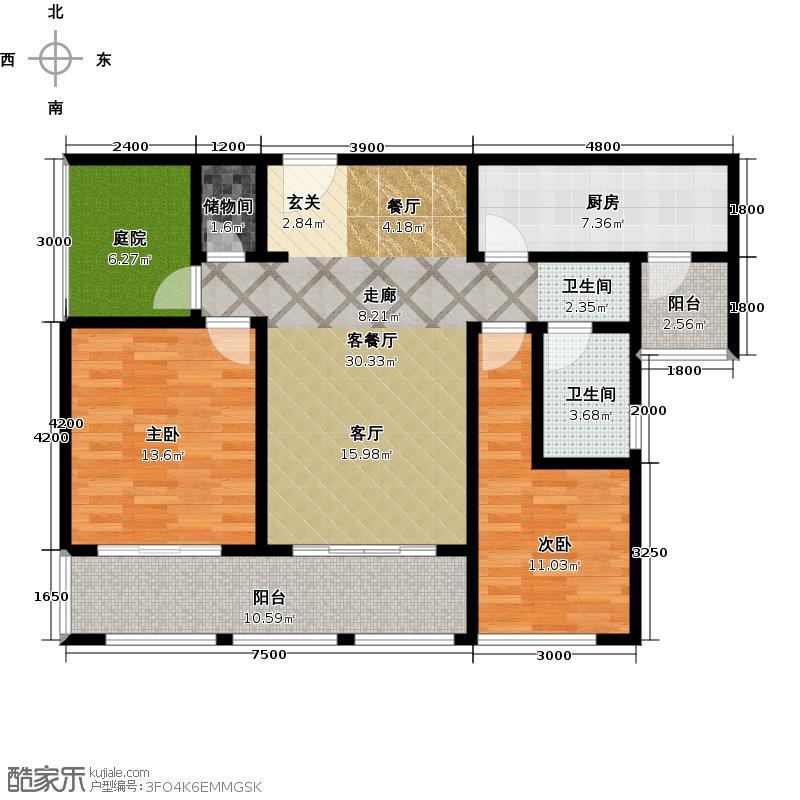 金地圣爱米伦109.00㎡高层F-6户型2室2厅1卫