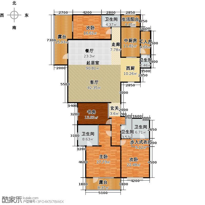 富力十号270.62㎡A5栋标准层平面图(偶数层)二单元02户型10室