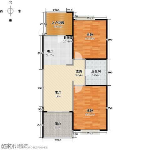 雅居乐云南原乡2室2厅1卫0厨85.00㎡户型图