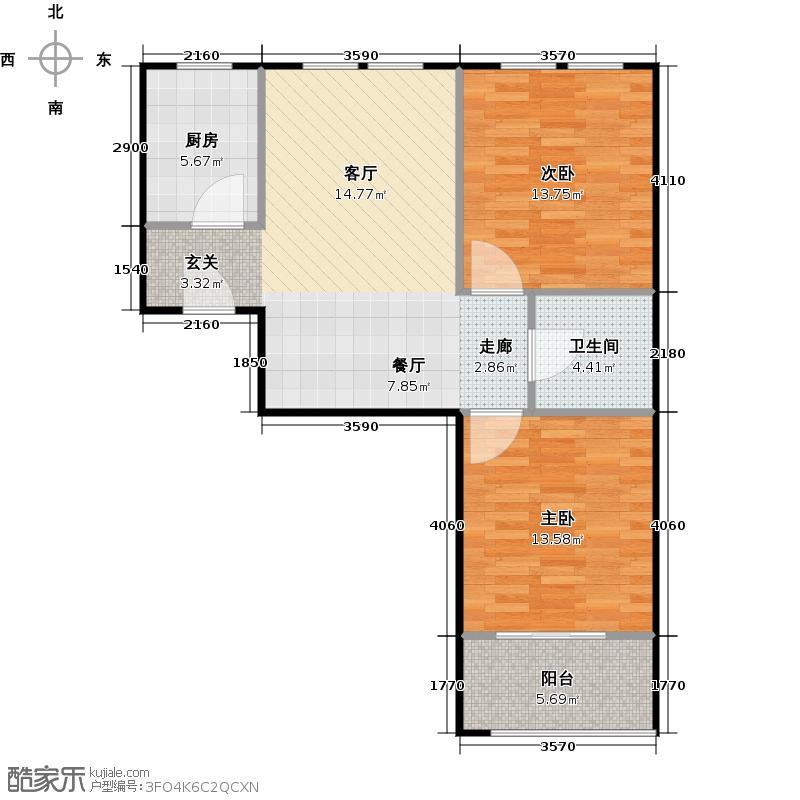 仁合银庭75.44㎡2#中间套户型2室2厅1卫