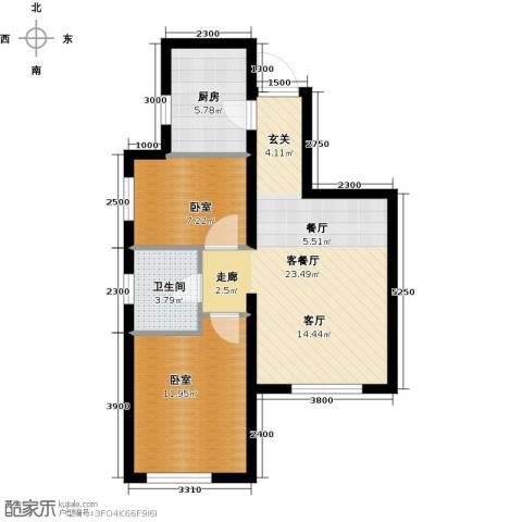 美震瑞景时代2室2厅1卫0厨75.00㎡户型图