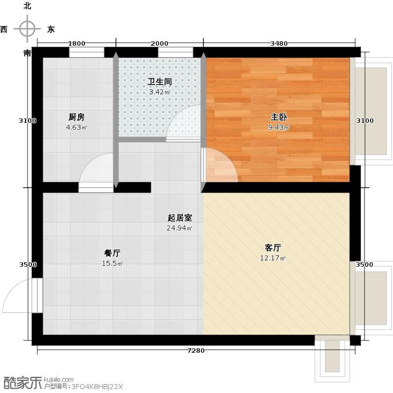保利・罗兰香谷60.00㎡A户型1室2厅1卫