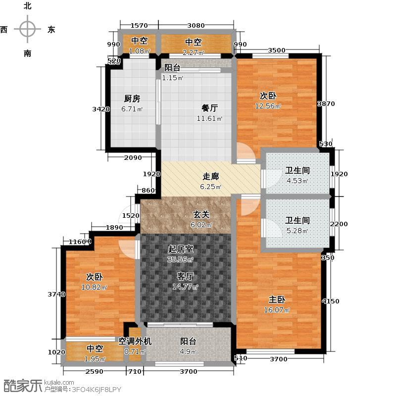 东方鸿�园118.71㎡K户型3室2厅2卫