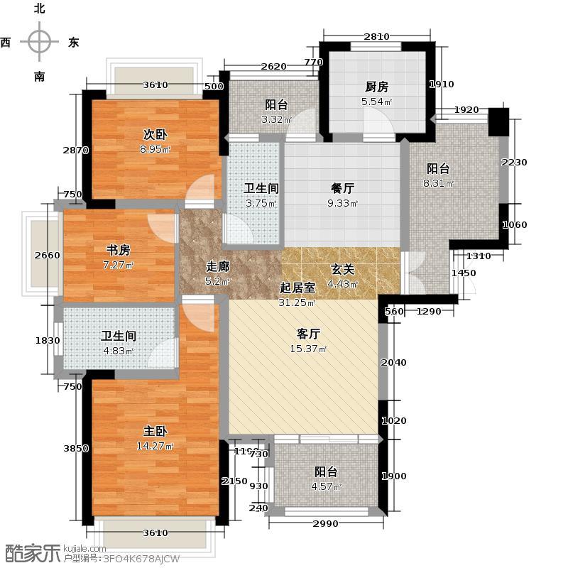 欧莱雅郡119.90㎡高层板楼户型3室2厅2卫