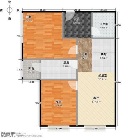 朝阳区崔各庄来广营北路地块2室2厅1卫0厨80.00㎡户型图