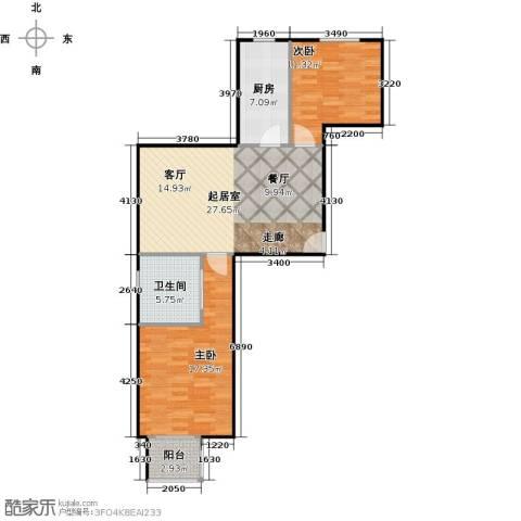 朝阳区百子湾14号地块2室1厅1卫0厨80.00㎡户型图