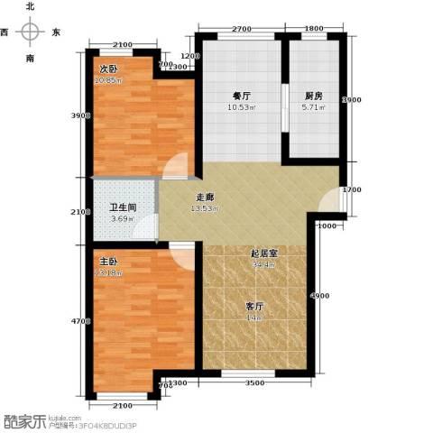 中海苏黎世家2室2厅1卫0厨92.00㎡户型图