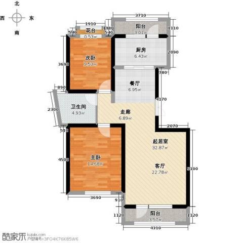 地恒托斯卡纳2室2厅1卫0厨76.00㎡户型图