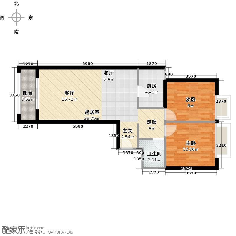 中信城95.00㎡E04/E04反户型2室2厅1卫
