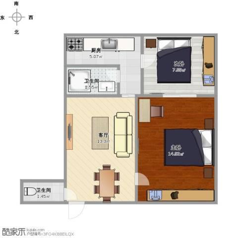 采荷一区2室1厅1卫1厨61.00㎡户型图