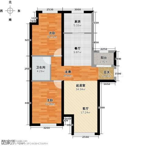 保利・罗兰香谷2室2厅1卫0厨90.00㎡户型图