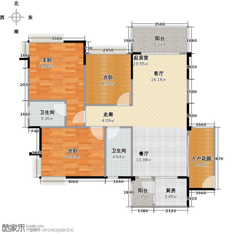 纯水岸114.10㎡6栋01单位户型3室2厅2卫