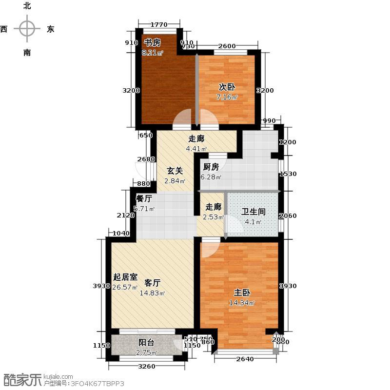 金域公园97.00㎡A1户型3室2厅1卫
