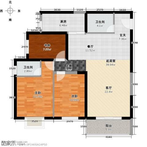 天伦御城龙脉3室2厅2卫0厨131.00㎡户型图