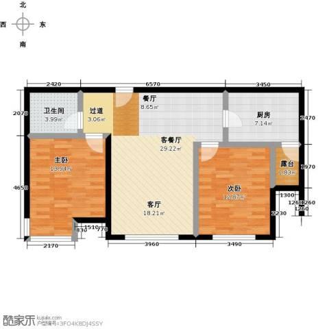 融科钧廷二期2室2厅1卫0厨79.00㎡户型图