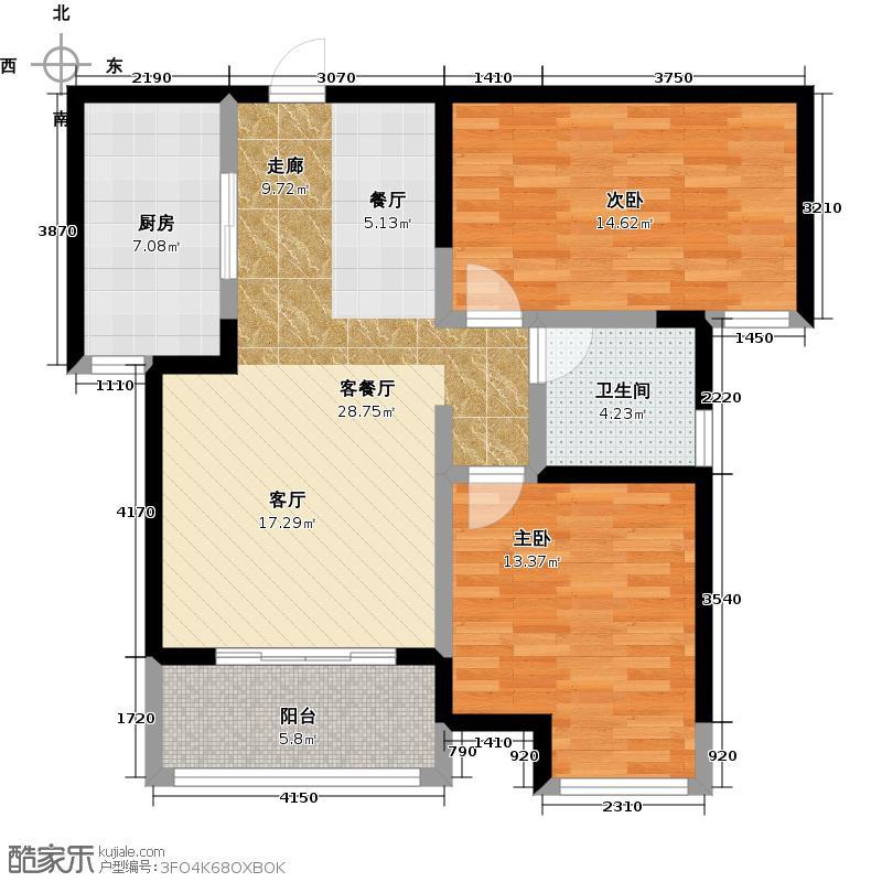 宝龙城市广场85.00㎡3#B户型2室2厅1卫
