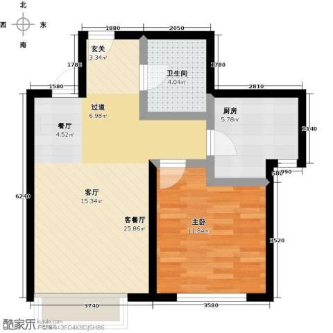 融科钧廷二期1室2厅1卫0厨54.00㎡户型图