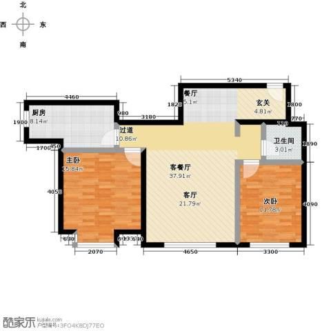 融科钧廷二期2室2厅1卫0厨87.00㎡户型图