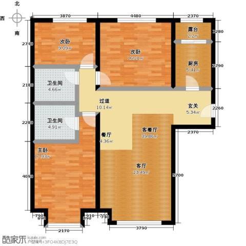 融科钧廷二期3室2厅2卫0厨114.00㎡户型图