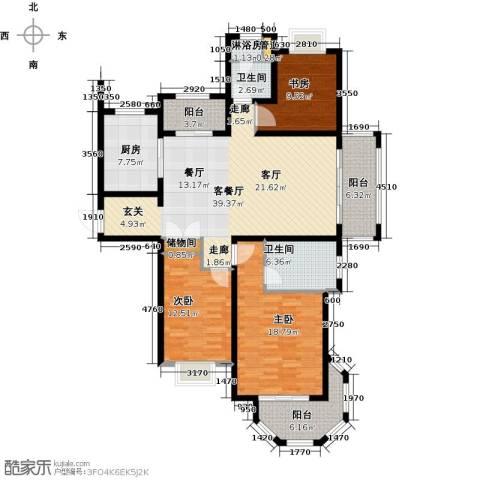澜调国际3室2厅2卫0厨135.00㎡户型图