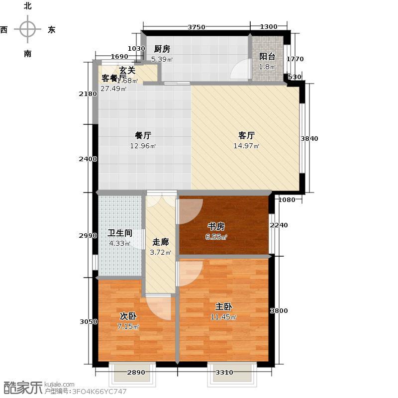 天津津南新城88.83㎡12-13号楼04户型3室2厅1卫