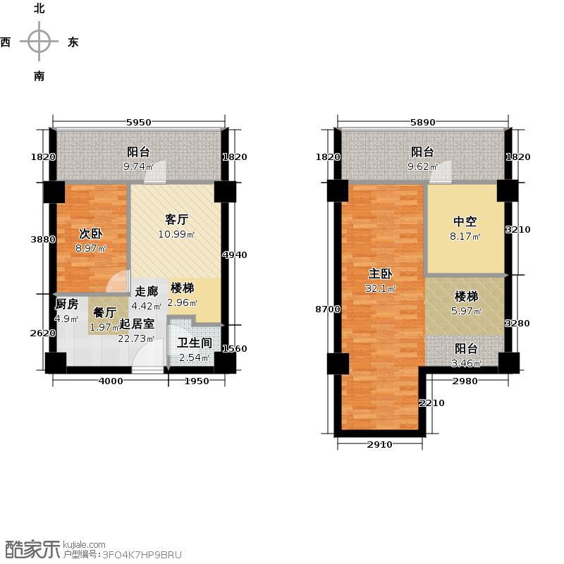 博凡湘湖九号56.00㎡A1户型2室1厅2卫
