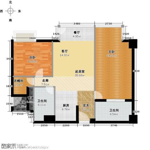 德胜君玺2室2厅2卫0厨134.00㎡户型图