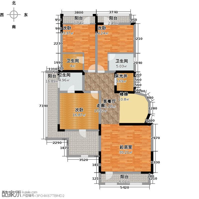 棕榈滩中央墅1095.00㎡S1二层户型10室