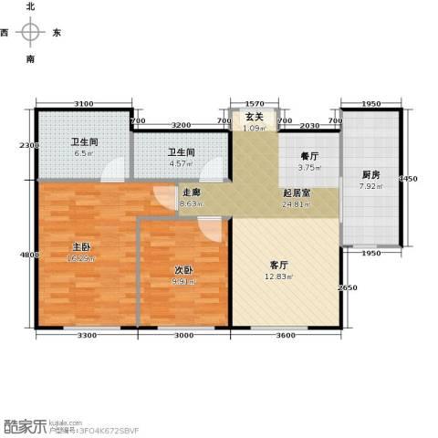 天润・香墅湾1号2室2厅2卫0厨100.00㎡户型图