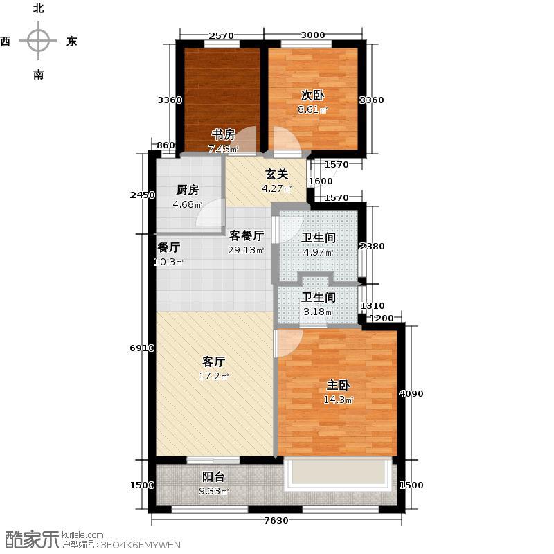 德信东望89.00㎡偶数层B5'户型3室2厅2卫