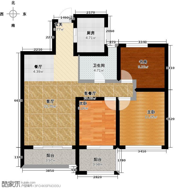 中国铁建国际城88.00㎡B-2(偶数层)户型3室2厅1卫
