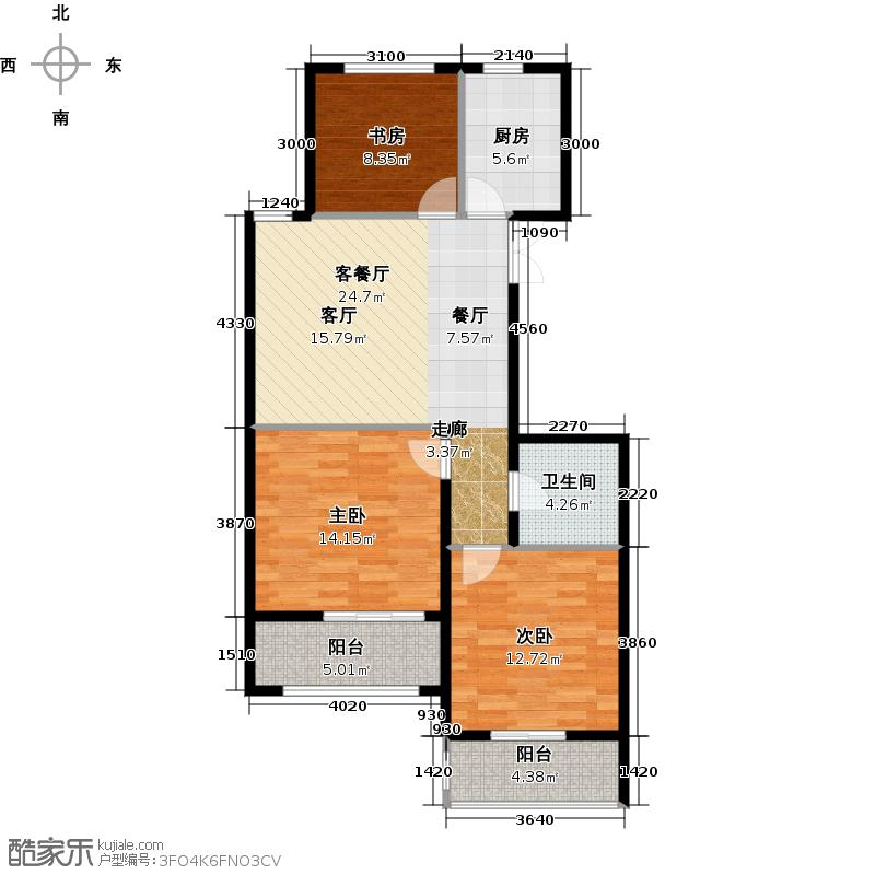 中国铁建国际城88.00㎡B-3(奇数层)户型3室2厅1卫