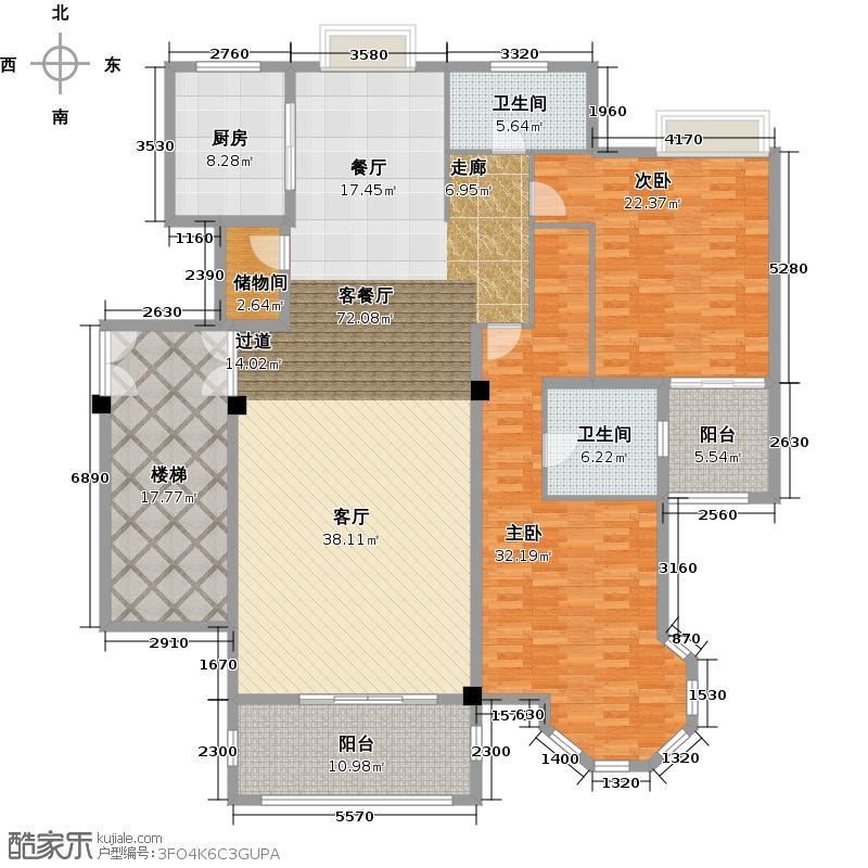 野风启城206.00㎡花园洋房18号楼3楼东边套一层户型3室2厅3卫