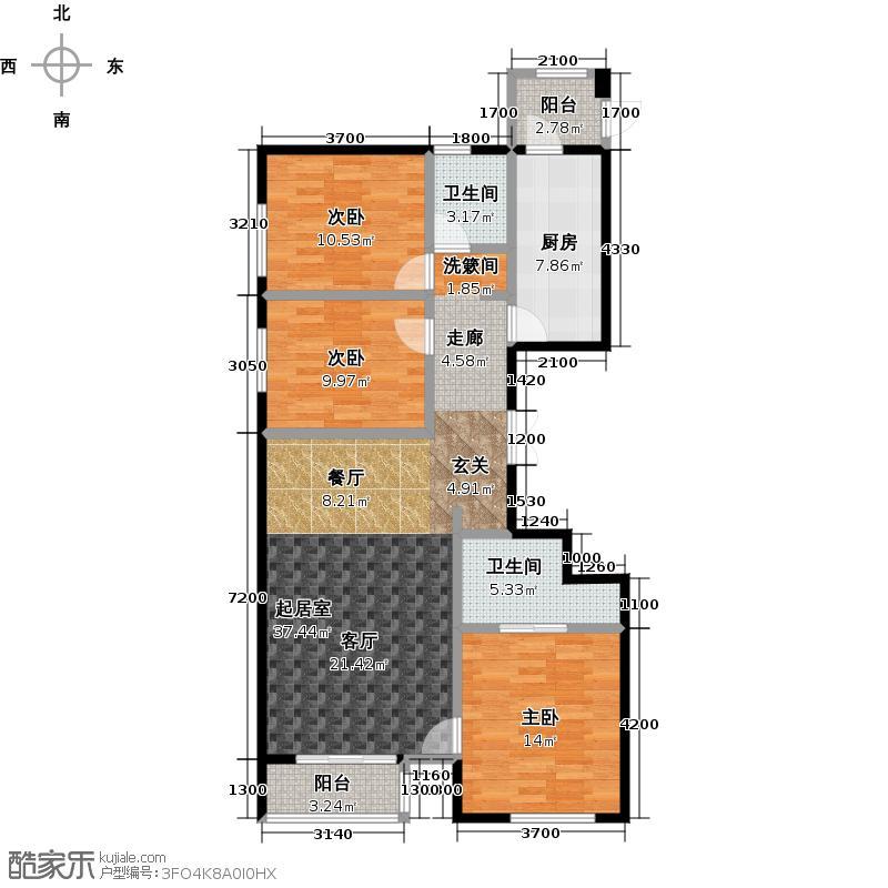 清河新城139.01㎡4号楼一单元A1三室户型10室