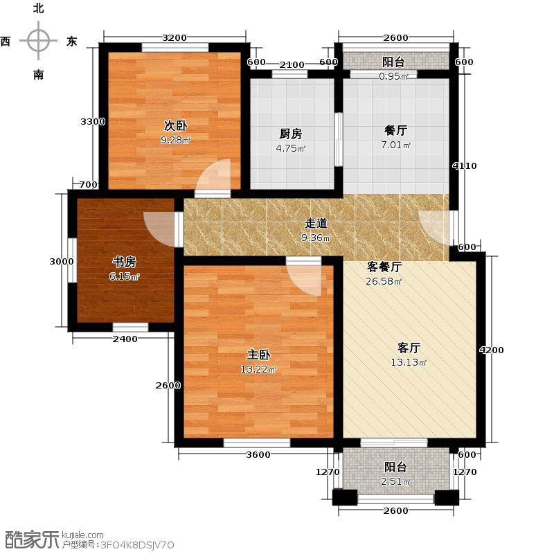 绿城・百合公寓88.00㎡E户型2室2厅1卫