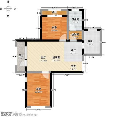 地恒托斯卡纳2室2厅1卫0厨57.18㎡户型图